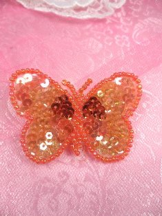 "SA101 Butterfly Applique Sequin Beaded Orange 2.25"""