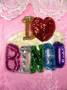 SA20 Reduced I Love Bingo Applique Beaded Sequin 5""