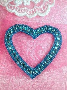 "SA60 REDUCED Turquoise Heart Rhinestone Applique 2.5"""