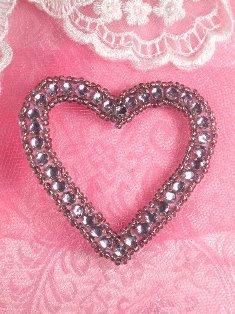 "SA63 REDUCED Lavender Heart Rhinestone Applique 2.5"""