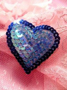 """SA70 REDUCED Blue Sequin Heart Applique 1.5"""""""