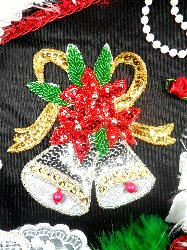 Christmas Silver Bells Applique Sequin Glorious Holiday Decor Beaded Patch Iron On XR384