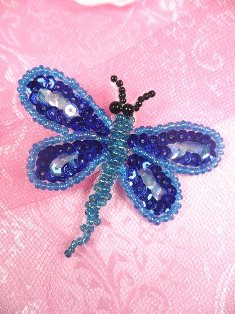 SA98  Butterfly Applique Sequin Beaded Blue 2.5""