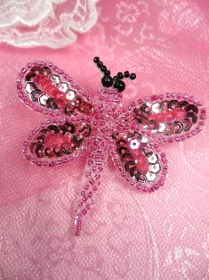 SA98  Butterfly Applique Sequin Beaded Pink 2.5""