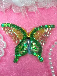 SAM15 Green Pastel Butterfly Sequin Beaded Applique 3.5""