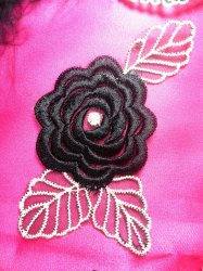 GB44 Black Flower Embroidered Applique Floral 4.25""