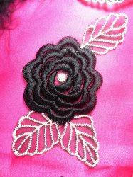 "GB44 Black Flower Embroidered Applique Floral 4.25"""