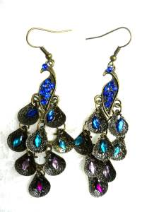 """JW9 Vintage Peacock Dangle With Multicolored Jewels And Rhinestones 2.25"""""""