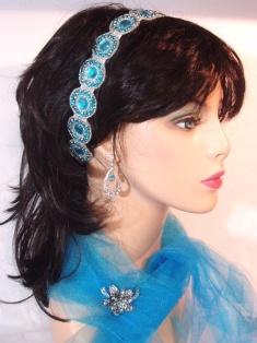 SB0379  Truquoise & Silver Rhinestone Headband