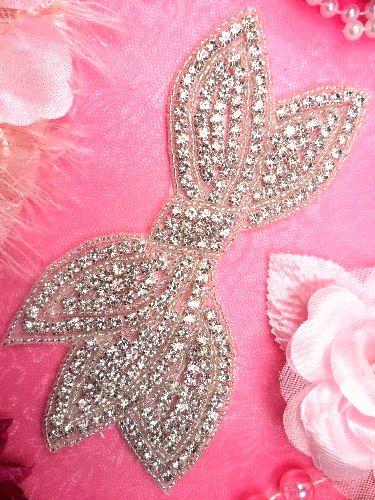 """JB88 Bridal Bow Silver Beaded Crystal Rhinestone Applique 6"""""""