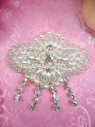 SJB8 Pearl Silver Beaded Applique Crystal Rhinestone Dangles 3""