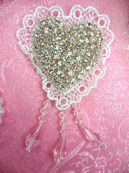 SJB9 Heart White Lace Silver Beaded Crystal Rhinestone Applique Dangles 4""