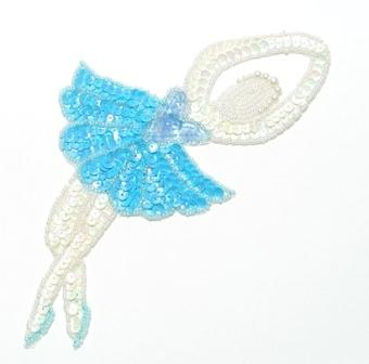 E017 L Lt. Blue Ballerina Sequin Beaded Applique 7.5""