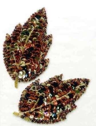 "E1022 Large Autumn Leaves Beaded Sequin Appliques Mirror Pair 4.5"""