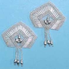 E1063 Set of (2) Silver Dangle Pair  Beaded Appliques 2""