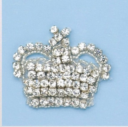 RM0356-SLCR  REDUCED  Genuine Rhinestone Crown Beaded Applique 2""
