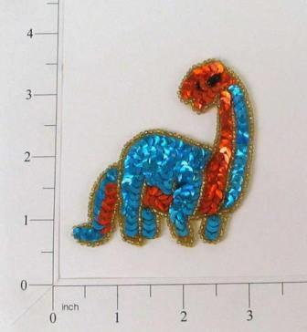 "E181  Brontosaurus Dinosaur Sequin Beaded Applique 3"""