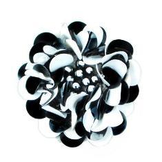 "E249  Black White Floral Sequin Beaded Applique Flower 2"""