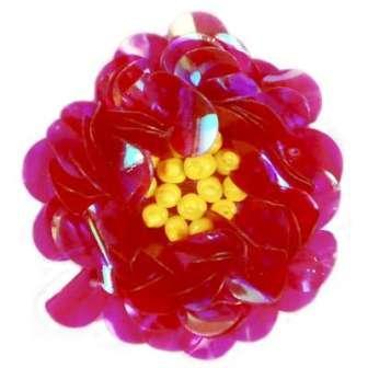 "E249 Fuchsia Crystal  Floral Sequin Beaded Applique Flower  2"""