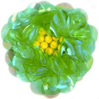"""E249 Green Crystal  Floral Sequin Beaded Applique Flower  2"""""""