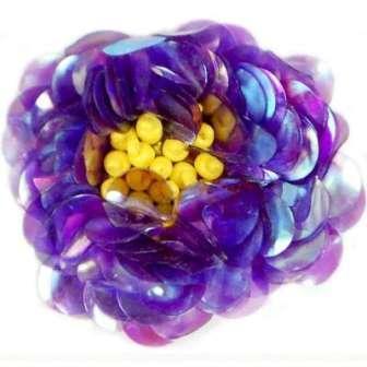 "E249 Purple Crystal  Floral Sequin Beaded Applique Flower  2"""