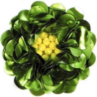 "E249   Lime Floral Sequin Beaded Applique Flower  2"""