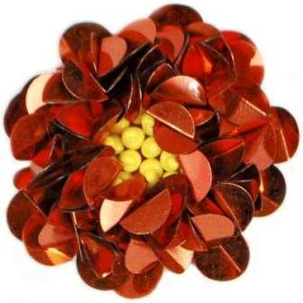 """E249   Red Floral Sequin Beaded Applique Flower  2"""""""