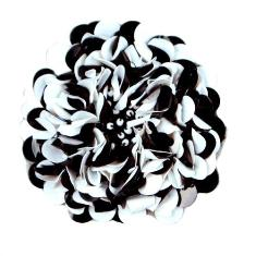 """E250  Black White Beaded Sequin Applique Flower  2.75"""""""