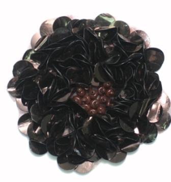 "E250 Chocolate Brown Beaded Sequin Applique Flower  2.75"""