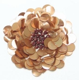 "E250  Matte Gold  Beaded Sequin Applique Flower  2.75"""