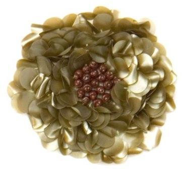 "E250  Matte Olive Green Beaded Sequin Applique Flower  2.75"""