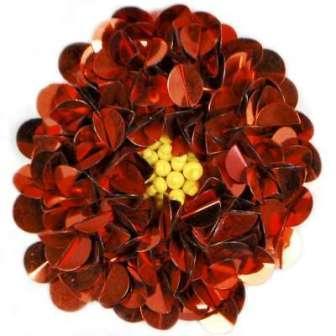 "E250  Red Beaded Sequin Applique Flower  2.75"""