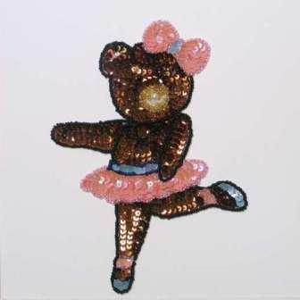 """E296M Ballerina Bear Sequin Beaded Applique 7"""""""