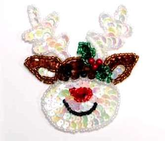 He's Back! Christmas Rudolph the Red Nosed Reindeer Applique Sequin Beaded JB221
