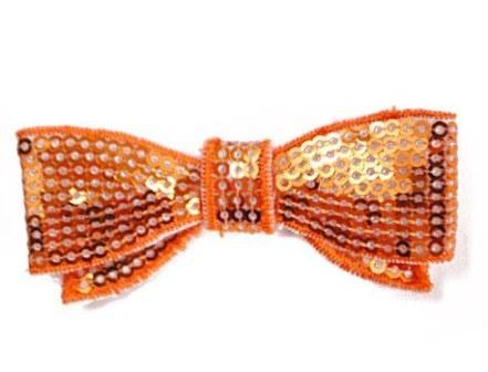"E3440  Orange Sequin Bow  Applique 2.75"""