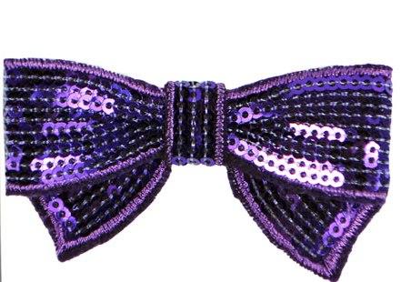 "E3440  Purple Sequin Bow Applique 2.75"""