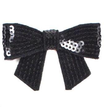 """E3456   Black Sequin Bow  Applique 2.5"""""""