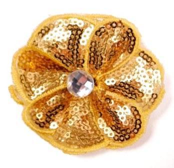 "E3460  Gold Jewel Sequin Applique / Pin 2.5"""