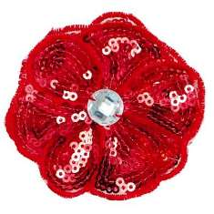 E3460  Red Jewel Sequin Applique / Pin 2.5""