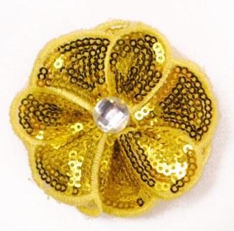 "E3460  Yellow Jewel Sequin Applique / Pin 2.5"""