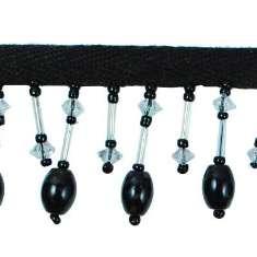 "P3512 Black Onyx Beaded Fringe Trim Pre-Cut 24"""