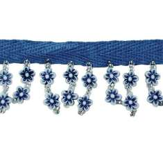 "P3822 Blue White Daisy Beaded Fringe Trim Pre-Cut 18"""