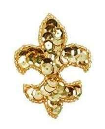 """E419S  Small Gold Fleur De Leis Beaded Sequin Applique 2.25"""""""