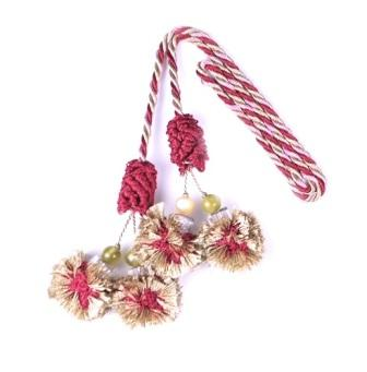 E4406  Sage Burgundy  Beaded Tassel