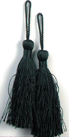 E5524  Set of Two Black Tassels 3.75""