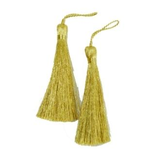 E5528  Set of Two Metallic Gold Tassels 3.75""