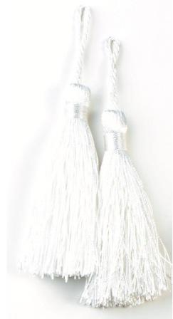 E5524  Set of Two White Tassels 3.75""