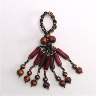 E5588 Multicolor Brown Beaded Tassel 3""