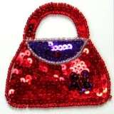 Ladies Purse Sequin Beaded Applique  E5842