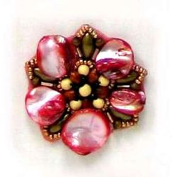 E5863 Red Pearl Shell  Beaded Applique Motif  2""